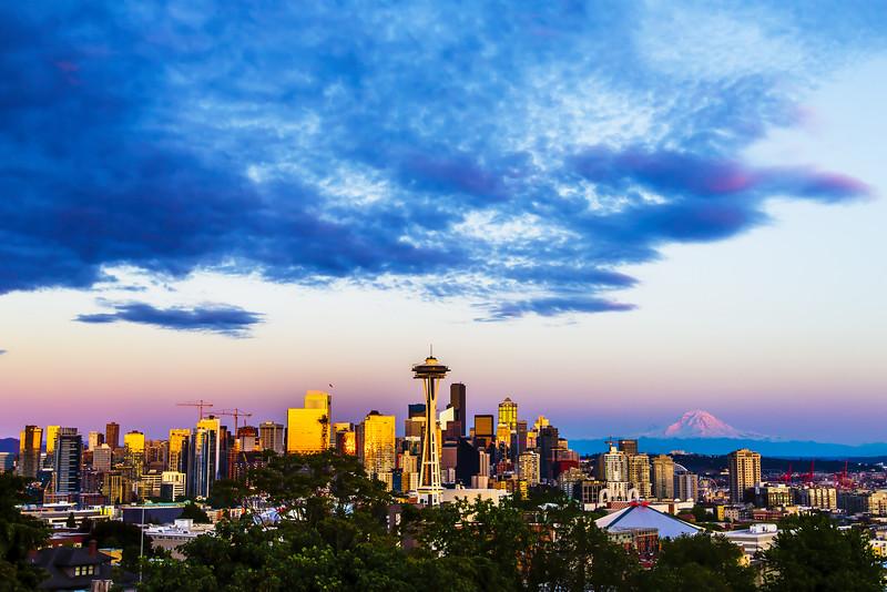 Pink Sunset - Seattle Skyline