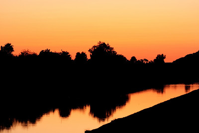 Sunset in Scottsdale Arizona over a water canal