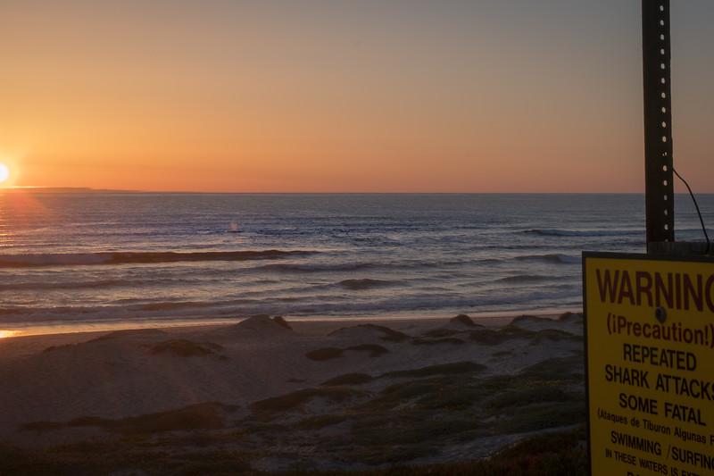 Spout near shore as the sun goes down at Surf Beach