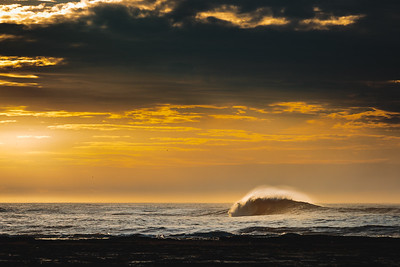 Beautiful Wave Under a Moody Sunset in Yorkshire