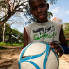 FORT NIEUW-AMSTERDAM. SURINAM BOY WITH HIS FOOTBALL.