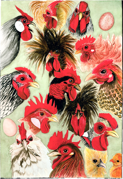 Rooster Collage–SOLD