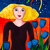 Girl With The Blue Tulips