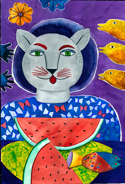 Cat With The Watermelon