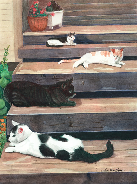 Cats On Steps–SOLD