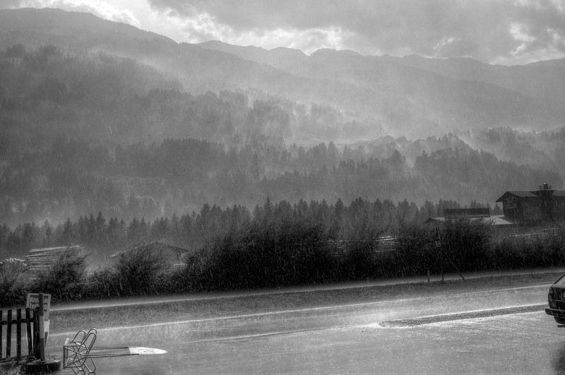 A sudden downpour. <br /> <br /> Austria, near the German border.  This B&W HDR was processed from five color photos shot by Paul Colton.