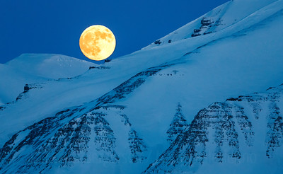Full moon landscape from Svalbard, Norway. April