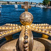 Gilded Crown on Skeppsholmsbron bridge in Stockholm, Sweden, Europe