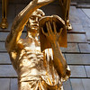 STOCKHOLM. KUNGLINGA DRAMATISKEN TEATREN. GOLDEN STATUE IN FRONT OF THE THEATRE. [2]