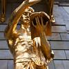 STOCKHOLM. KUNGLINGA DRAMATISKEN TEATREN. GOLDEN STATUE IN FRONT OF THE THEATRE. [2]