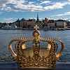 STOCKHOLM. SKEPPSHOLMSBRON BRIDGE WITH GOLDEN CROWN.