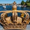 Gilded Crown on Skeppsholmsbron bridge in Stockholm, Sweden, Europe