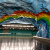 Interior of the Stadion metro station (1973) in Stockholm, Sweden - Europe
