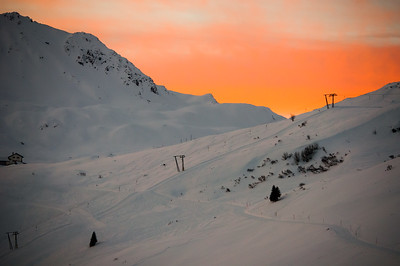Sunrise on the ski slopes