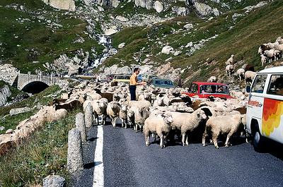 Traffic Jam on the Furka Pass, Switzerland
