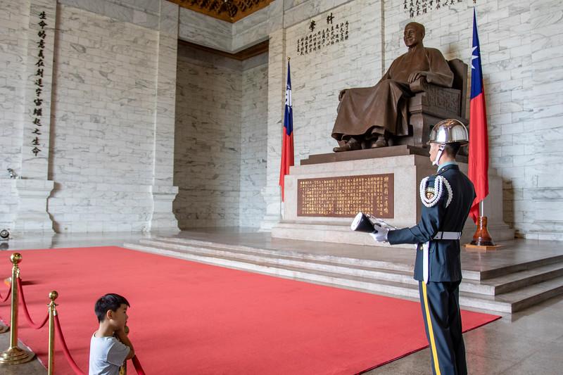 Taiwan. Guard at the National Chiang Kai-shek Memorial Hall, Taiwan