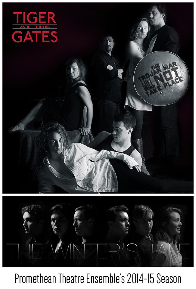 Poster and Promotional Art for Promethean Theatre Ensemble's 2014-15 season, Tiger at the Gates and The Winter's Tale. <br /> <br /> Top: Tiger at the Gates photo edited in Adobe Photoshop with additional text and editing in Adobe Illustrator.<br /> <br /> Bottom: The Winter's Tale Photocomposite created in Adobe Photoshop.<br /> <br /> Both images are optimized for social media (Tiger at the Gates designed in Instagram/Facebook/Twitter profile photo proportions, and The Winter's Tale designed for a Facebook cover photo.)