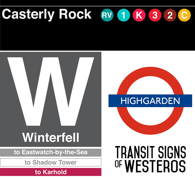 "As a diversion from the L Stop Series, I was inspired by the Game of Thrones Transit Map  <a href=""http://tyznik.com/thrones/"">http://tyznik.com/thrones/</a>), and worked out what various station signage would have as their real-world analogues.<br /> <br /> Casterly Rock - New York MTA<br /> Winterfell - Chicago Transit Authority<br /> Highgarden - London Underground<br /> <br /> Created in Adobe Illustrator"