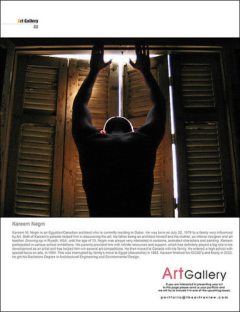 FEATURE<br /> The Art Review Magazine.<br /> June - July 2007 (1 year anniversary issue). Issue 7. Page 40.