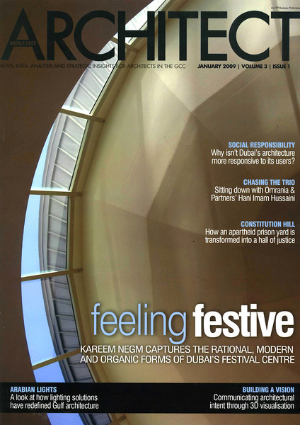 COVER<br /> Middle East ARCHITECT Magazine.<br /> January 2009. Volume 3. Issue 1.