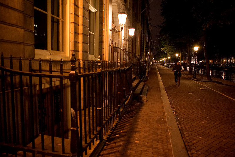 AMSTERDAM AT NIGHT. CANALS. THE NETHERLANDS.
