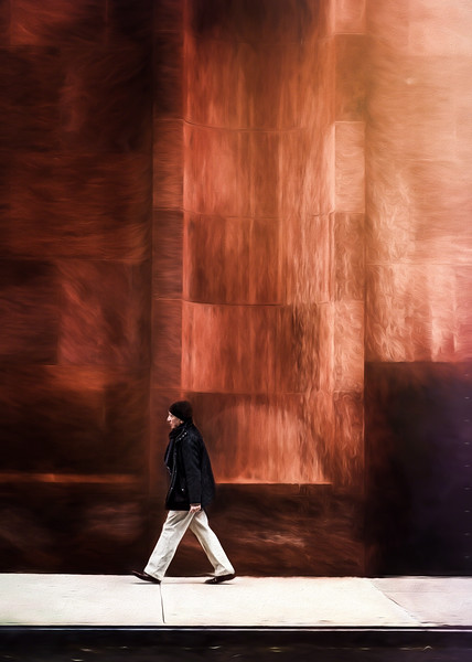Walking With an Opera Backdrop