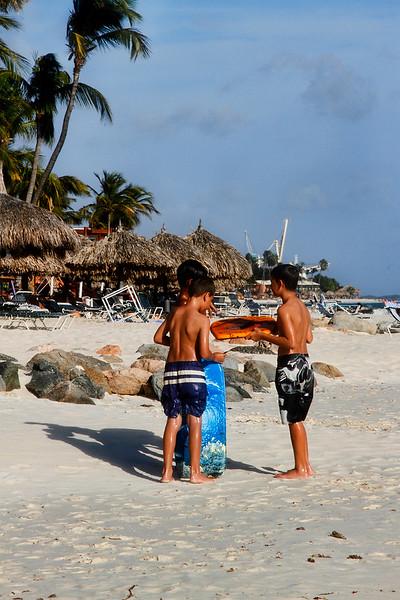 Future surfers at Eagle Beach, Aruba-2014