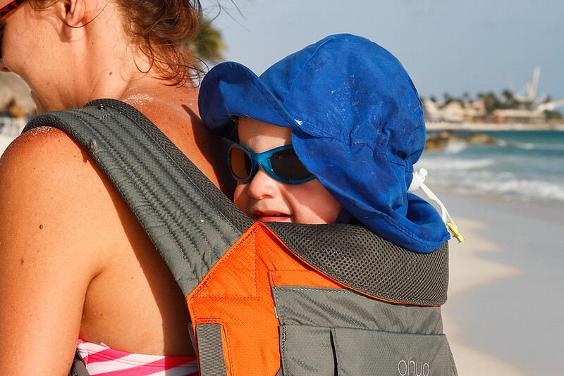 A great way for this little guy to safely enjoy the sun with Mom...Casa del Mar, Aruba-2014