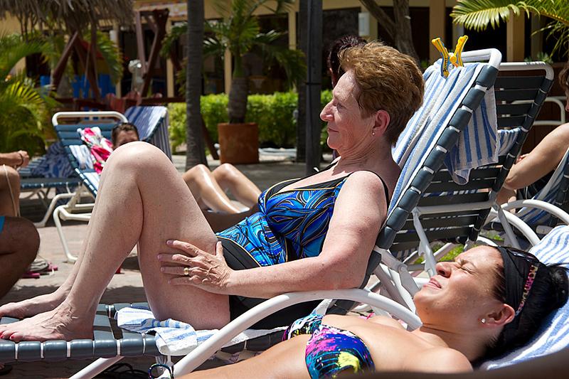 <center>IMG#0002 DAY 2-ARUBA Margaret Cheeseman and Rachel chat poolside...<center>