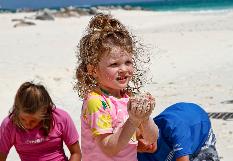 """This little one creates the turtle eggs to place in the """"nest""""...Eagle Beach, Aruba-2014"""