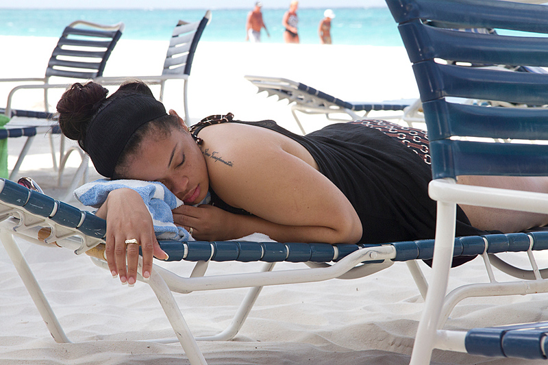 <center>IMG#0004 DAY 3-ARUBA 2012 Stephanie catching up on beauty sleep...lucky for hhe caught the shade...!<center>