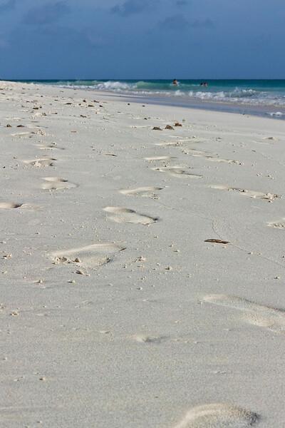Big foot prints on the beach, Aruba-2014