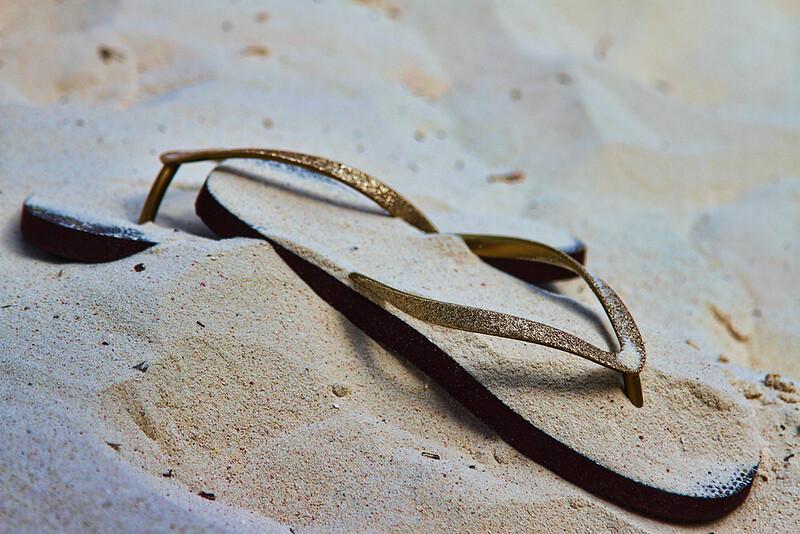 Grace's flip flops...left behind never to be seen again! Casa del Mar, Aruba-2014