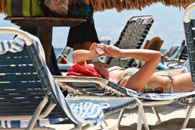 Texting at the beach is a little difficult...Casa del Mar, Aruba-2014