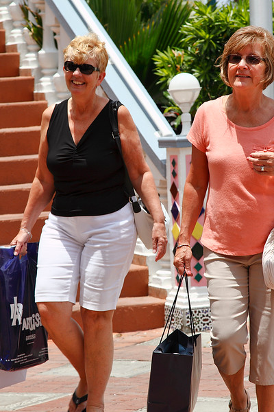 Bette Jean and Grace doing some serious shopping downtown Aruba-2014