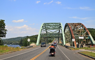 IMG#4518 July 23, 2011 - DAY 1 Double bridge ahead...we follow  the leader into Keene, New Hampshire