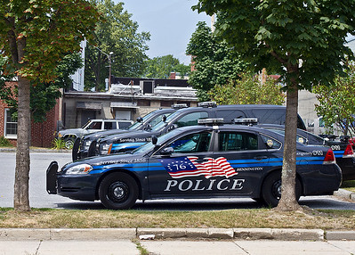 IMG#4476 July 23, 2011 - DAY 1 Police vehicles in the parking lot of the station house... Bennington, Vermont