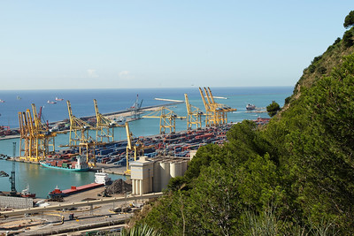 BARCELONA, SPAIN - CITY TOUR  7/21/14  Harbor view seen from Parc Guell