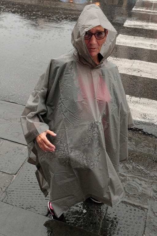 MARGARET IN HER FANCY RAINGEAR...FLORENCE, LASPEZIA...LEANING TOWER OF PISA, FIELD OF MIRACLES...RAINY AND MISTY FOR MOST OF THE DAY 7/24/14