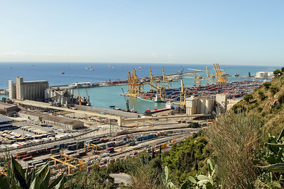 BARCELONA, SPAIN - CITY TOUR  7/21/14  Harbor View from Parc Guell