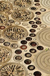 BARCELONA, SPAIN - CITY TOUR  7/21/14  Mosaic Walkway through the Parc Guell