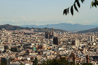 BARCELONA, SPAIN - CITY TOUR  7/21/14  View of the Sagrada Familia from Parc Guell