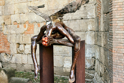 BARCELONA, SPAIN - CITY TOUR  7/21/14  Unusual Sculpture on the way to the Cathedral