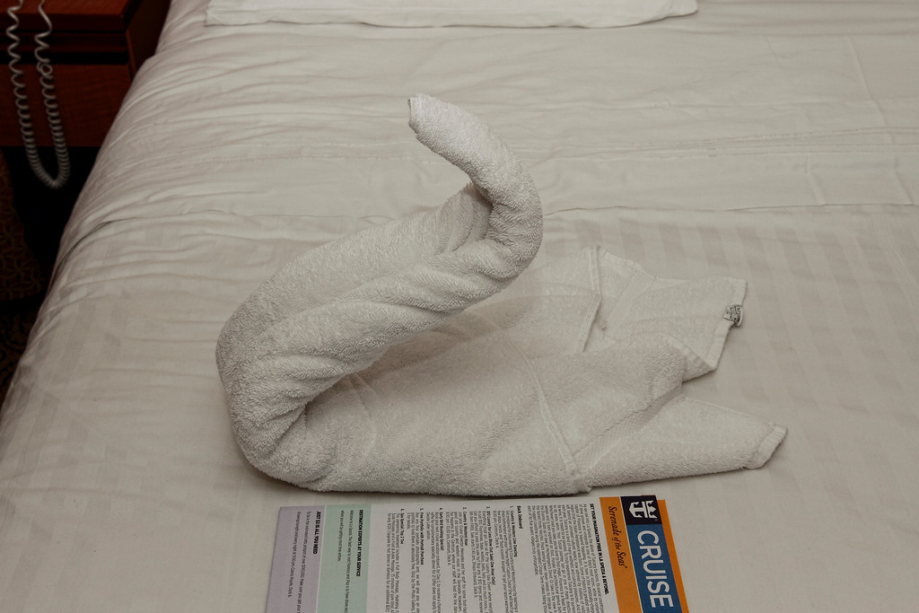 TOWEL CRITTERS GREET US IN OUR ROOM AT THE END OF OF OUR CANNES, FRANCE TOUR...7/23/14