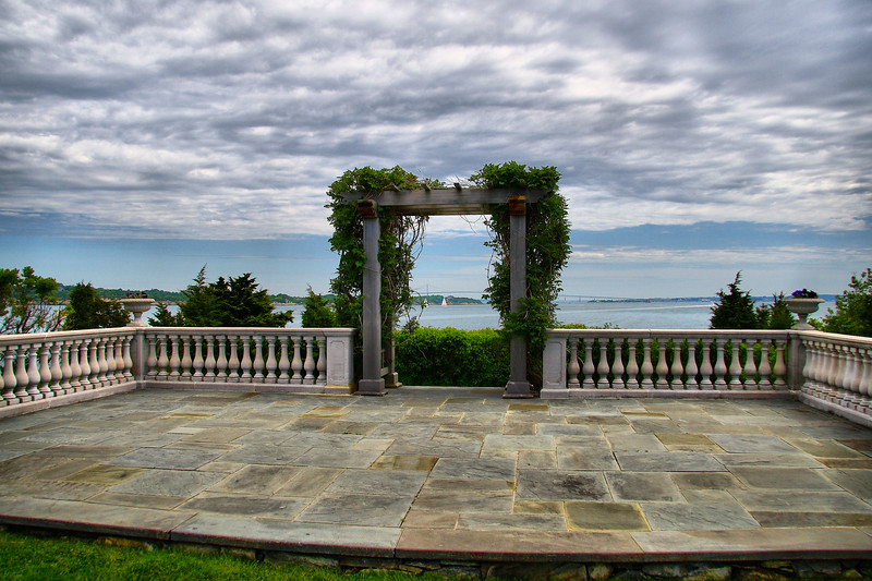 IMG#1300<br /> Castle Hill Wedding Pergola and Stage<br /> Newport Pell Bridge can be seen in the distance<br /> Newport, Rhode Island