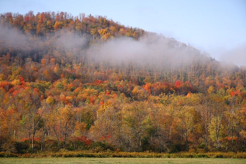 <center>IMG#5602 Early morning fog slowly  lifts from the mountains, Warren county, Pennsylvania October 10, 2010<center>