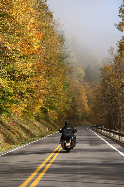 <center>IMG#5587 Golden walls of tree-lined highway  welcome us as we ride further into  the fog laden mountains of  Warren county, Pennsylvania October 10, 2010<center>