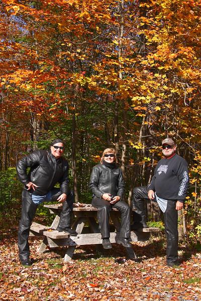 <center>IMG#5625 Three of us at the Kinzua Bridge picninc area, Mt. Jewett, Pennsylvania October 10, 2010<center>