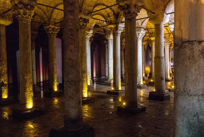 Intern of the Basilica Cistern, a Byzantine cistern in Istanbul, Turkey