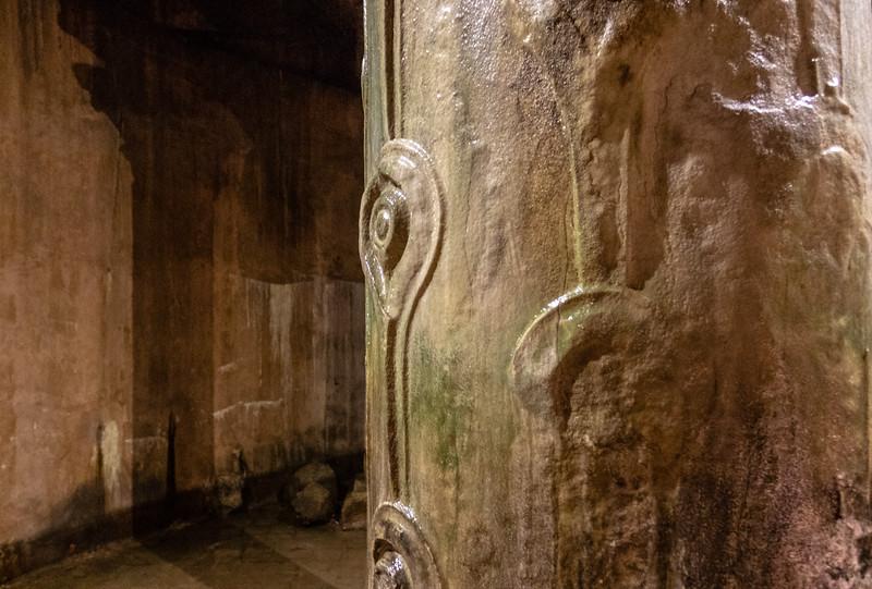 The Hen's Eye column inside the Basilica Cistern, a Byzantine cistern in Istanbul, Turkey